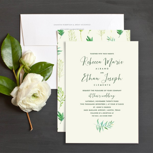 Calligraphic Botanical Wedding Invitations by Emily Buford   Elli