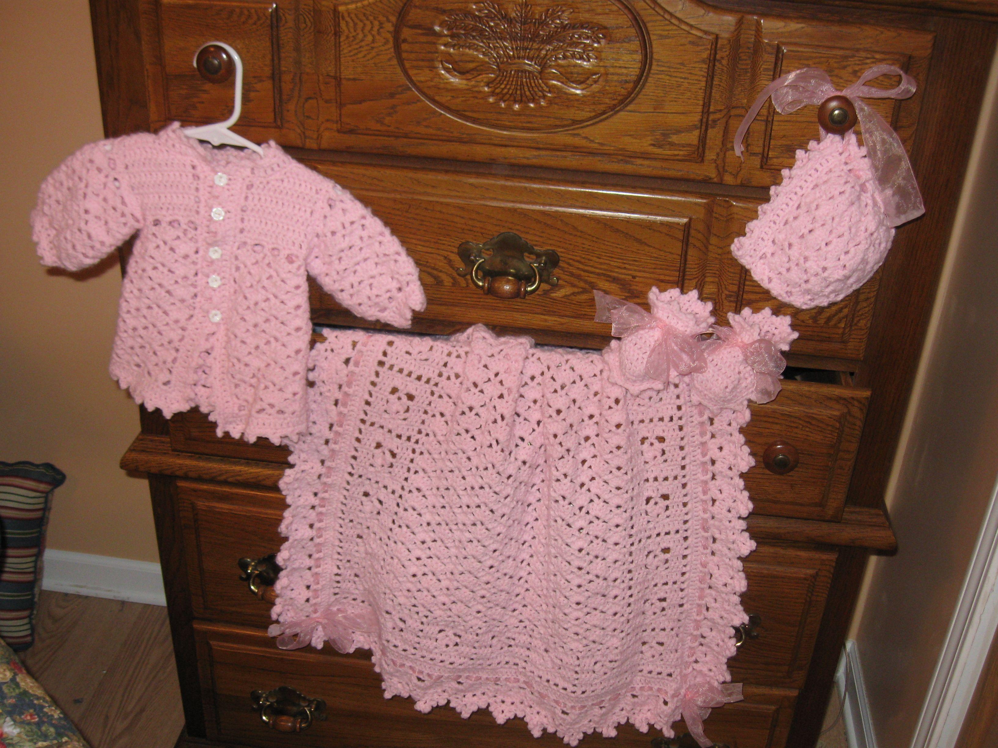 Layette | Pink Lacy Shells Layette | Pinterest