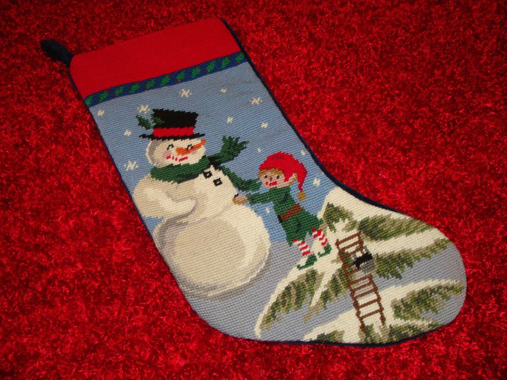 Lands' End Blank Needlepoint Christmas Stocking Snowman