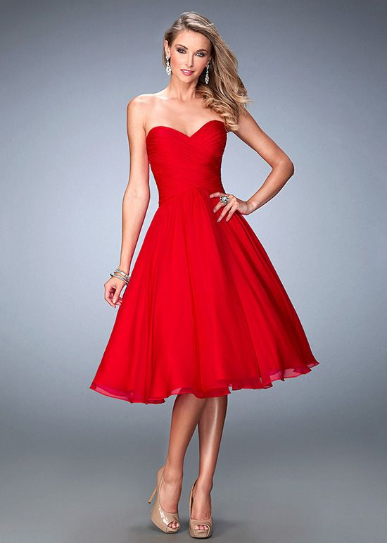 Tea Length Chiffon Red Dress
