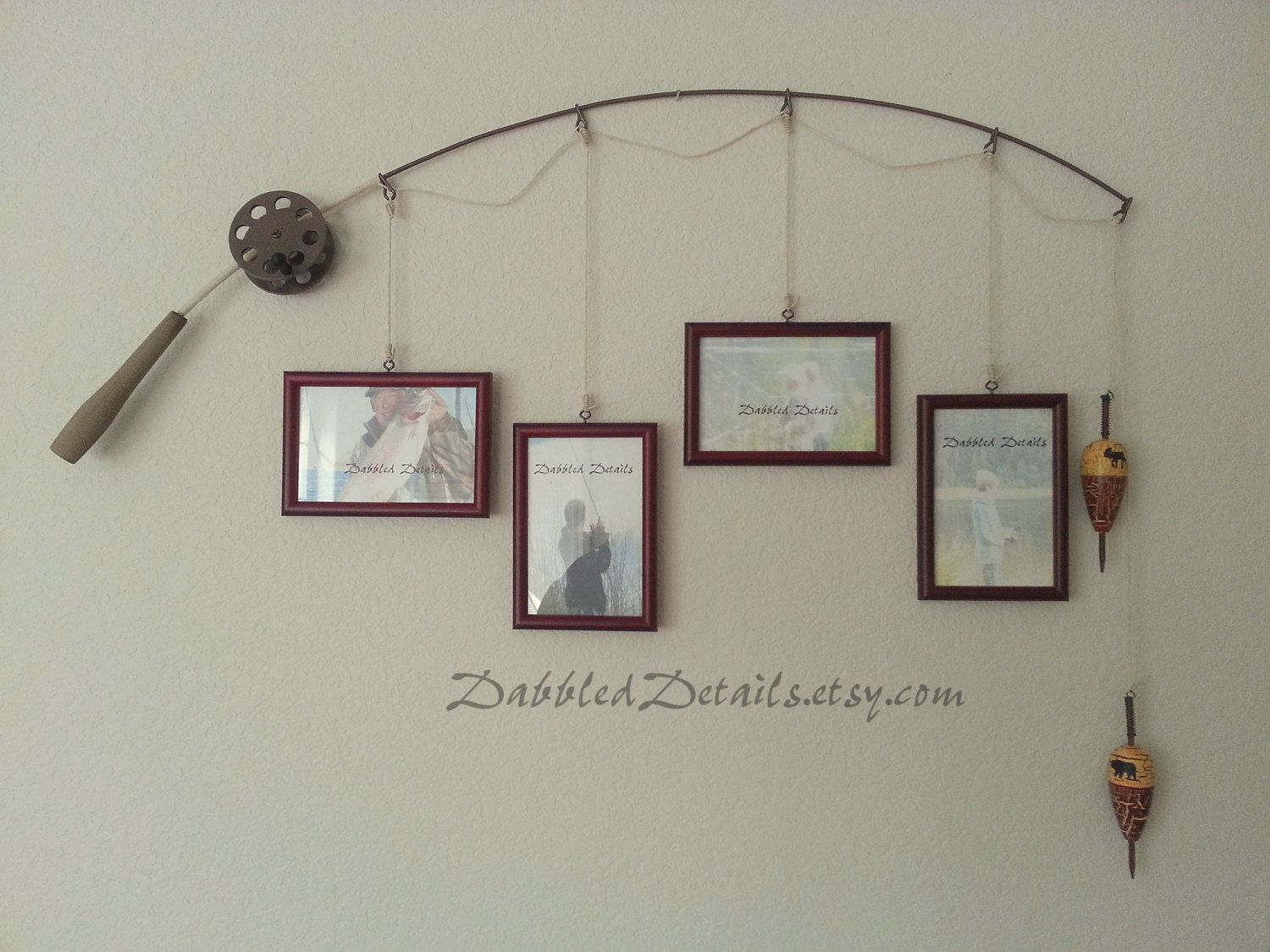 Fishing Pole Picture Frame Metal Brown 4 Frames In