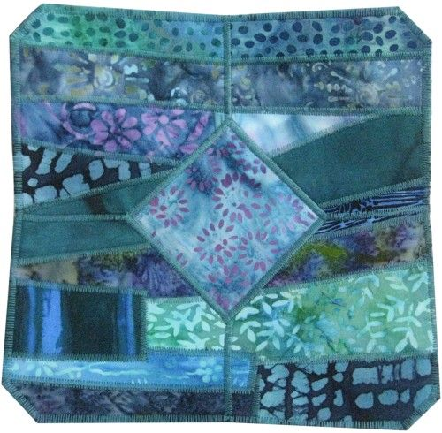Fabric Bowl Quilted in Teal Batik