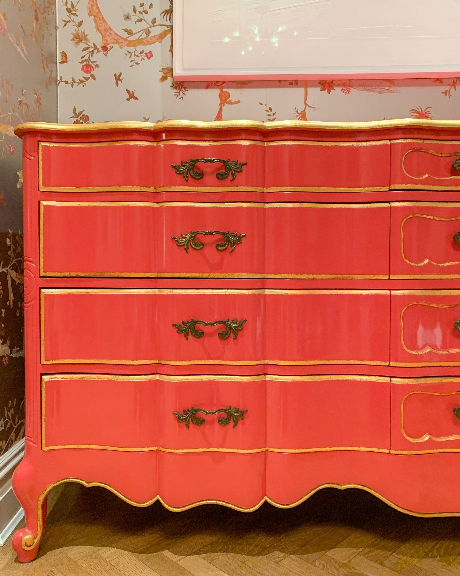 Exceptionnel French Provencial Style Sideboard By Revitaliste. ✨Refinished In A Custom  Coral Lacquer With Gilded Detailing To Accentuate The Beautiful Lines.