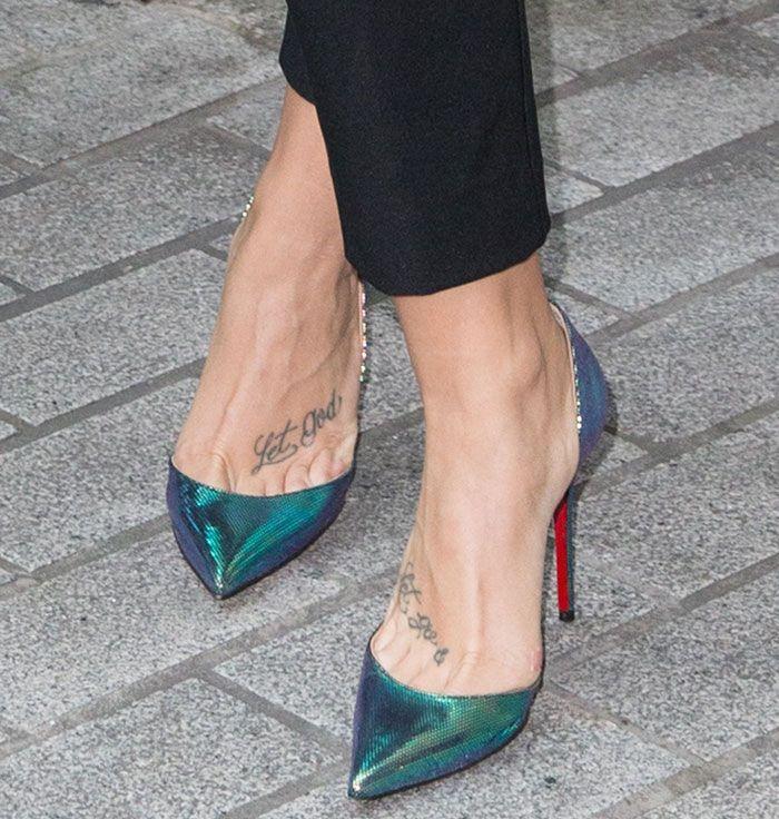 """c04ba046990 Demi Lovato Promotes """"Confident"""" Album in Christian Louboutin """"Iriza""""  Iridescent Pumps in London"""