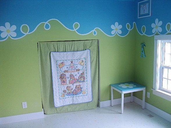 Blue And Green Playroom Wall Painting