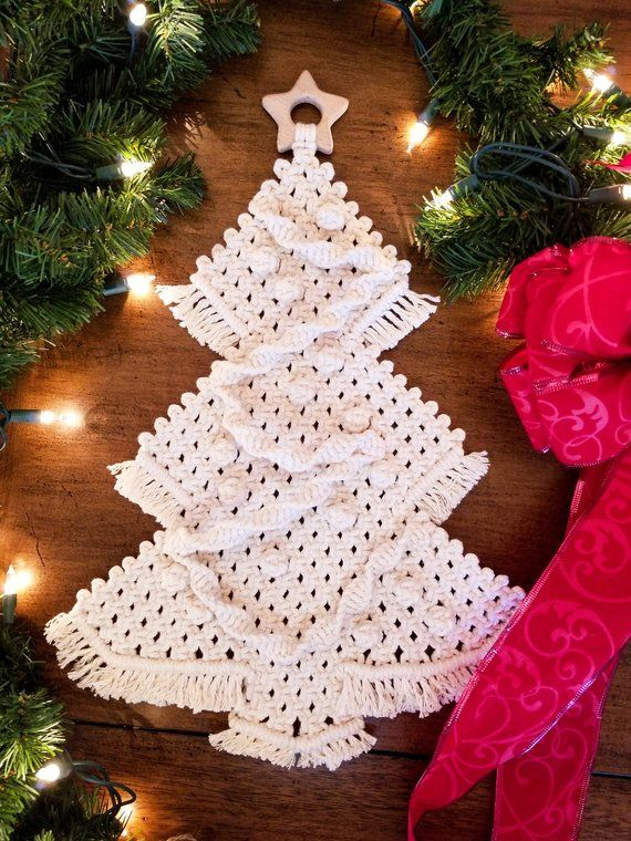 Macrame Christmas Tree Wall Hanging With Wooden Star Monochromatic Neutral Diy Christmas Tree Skirt Diy Christmas Wall Christmas Diy