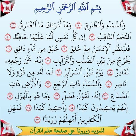 سورة الطارق Quran Verses Pure Happiness Hadeeth