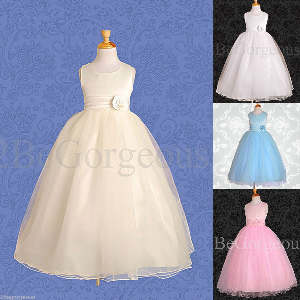 Dress for wedding party for girl  Tulle Dress Wedding Flower Girl Bridesmaid Communion Party Occasion