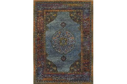 94x130 Rug Harriet Moroccan Blue Main Area Rugs Oriental Weavers Moroccan Blue