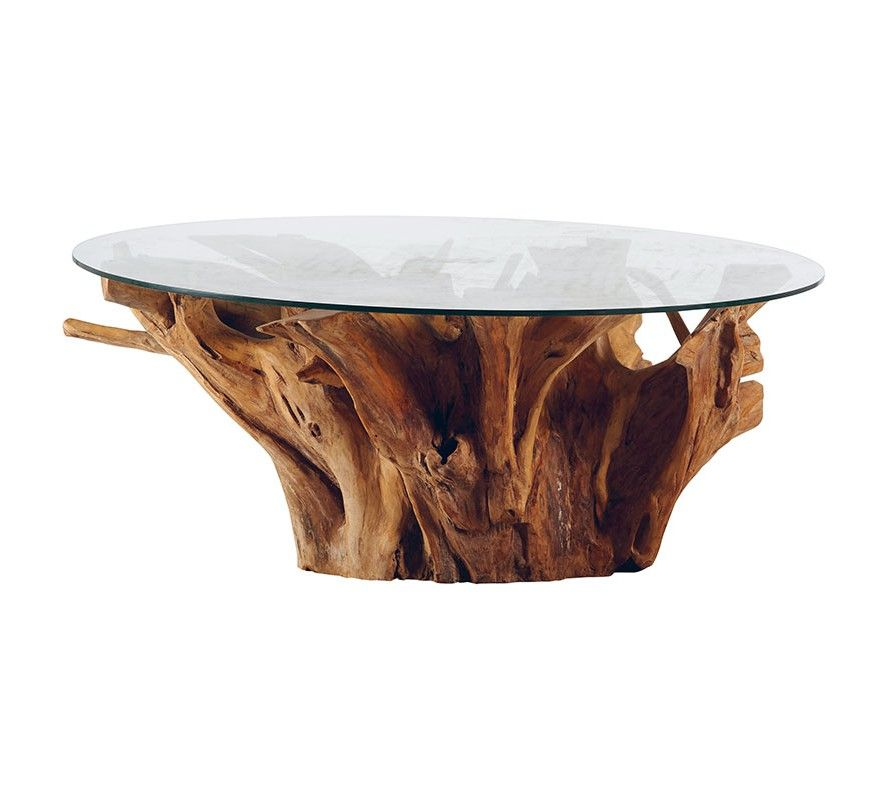 """Table de salon ronde teck massif avec plateau verre """"Roots"""""""