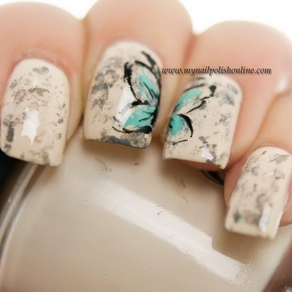 Vintage Butterfly Nail Design Butterfly Nail Art Pinterest