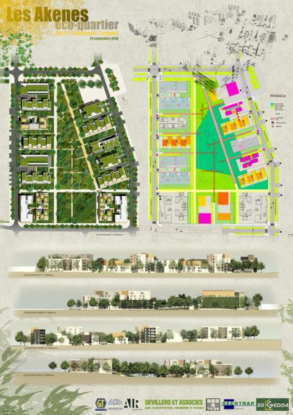 eco quartier les akènes, lormont | plans / perspectives / esquisses