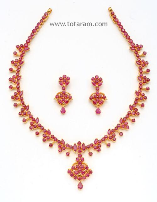 22 Karat Gold Rubies Necklace Drop Earrings Set Totaram Jewelers