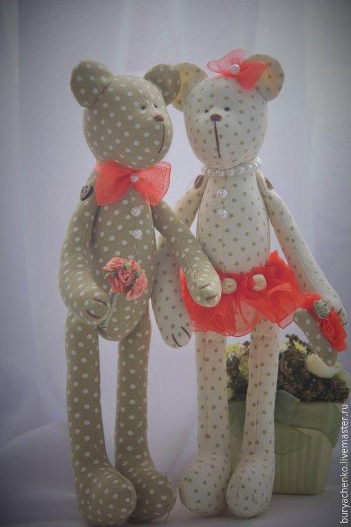 Купить Мишки свадебные в стиле тильда в горошек - оливковый, мишки, мишки ручной работы