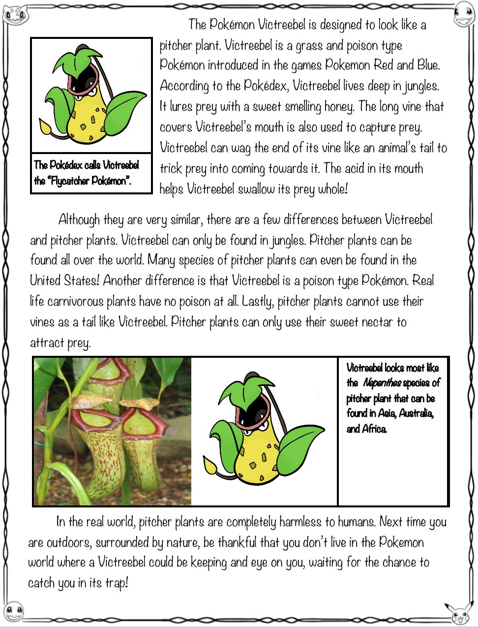 Did You Know That The Pokemon Victreebel Is Based Off Of Real World Carniverous Plants Called Pitcher Plants This High Int Pitcher Plant Pokemon Close Reading [ 1274 x 972 Pixel ]