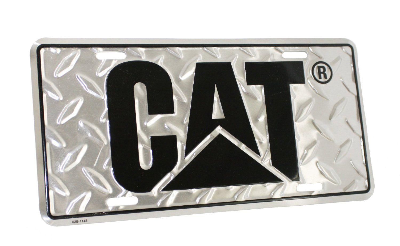 CAT Aluminum License Plate Tag with Black Logo Caterpillar Truck Car Semi NEW
