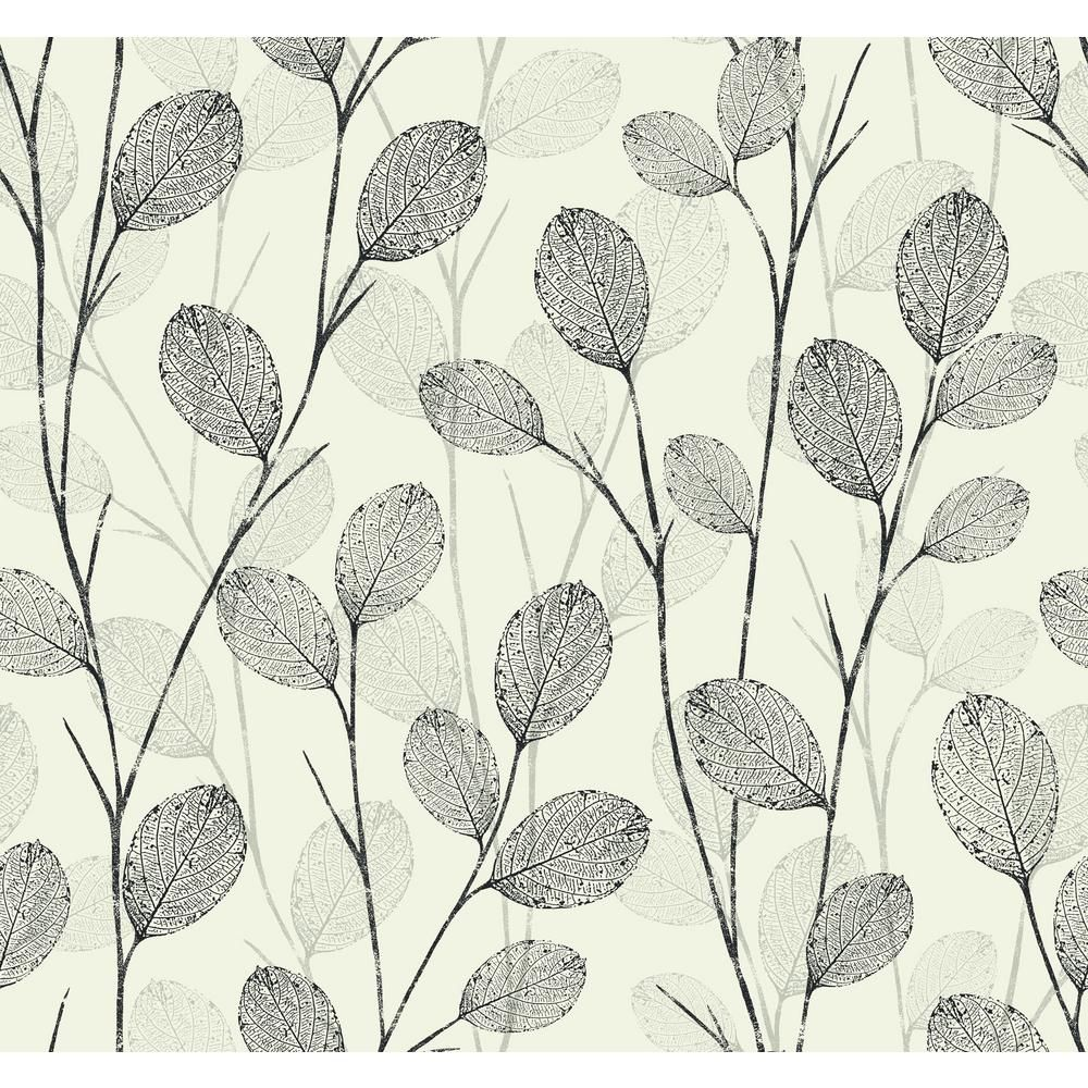 Seabrook Designs Skeleton Leaves Ebony Metallic Silver And Pearl Paper Strippable Roll Covers 60 75 Sq Ft Ec50210 The Home Depot In 2020 Leaf Wallpaper Botanical Wallpaper Graphic Wallpaper