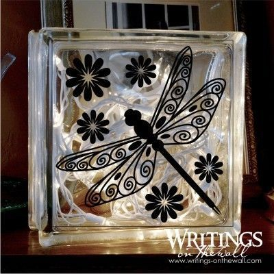 Dragonfly Large Glass Block Vinyl Decal New At Writingsonthewall - Glass block vinyl decals