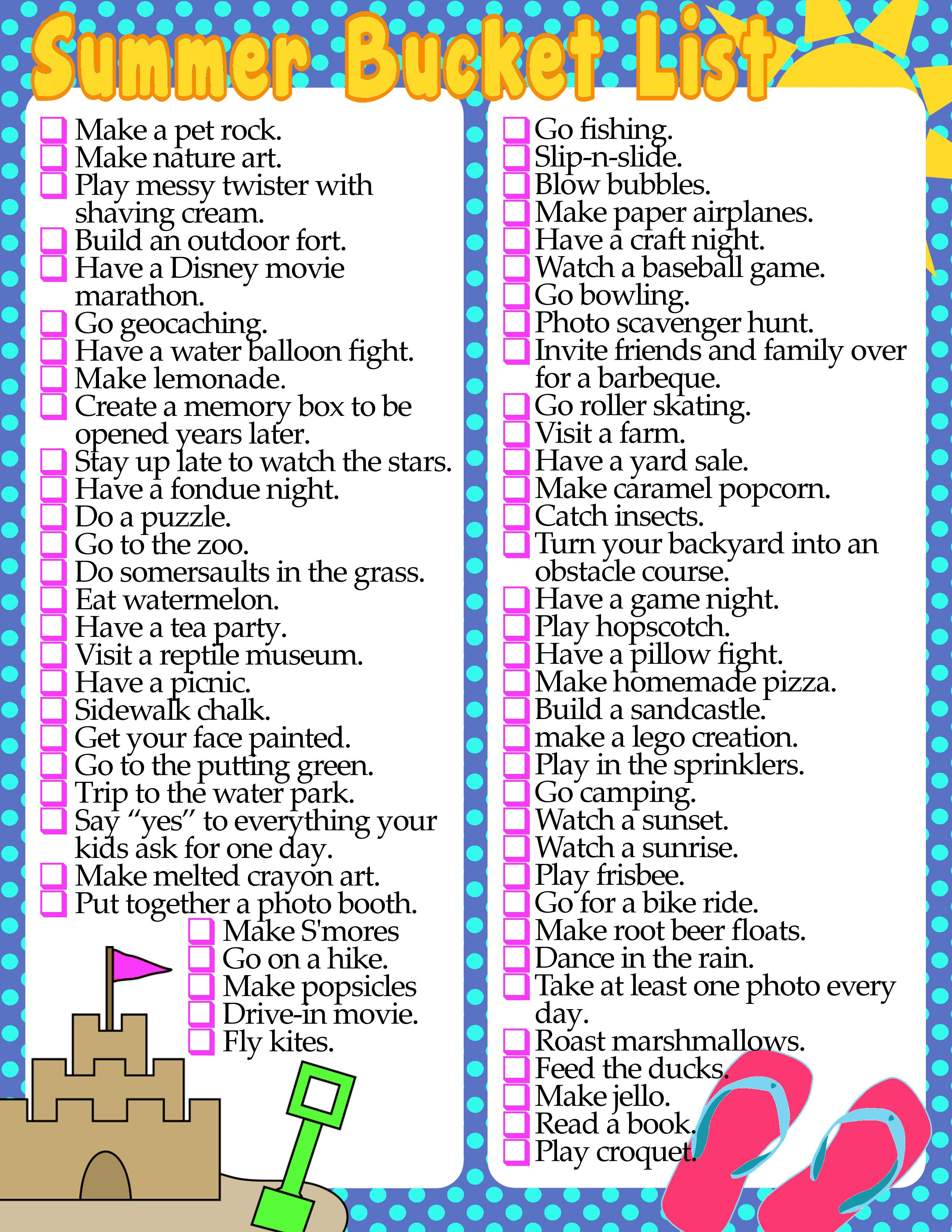 image result for free student summer bucket list printable