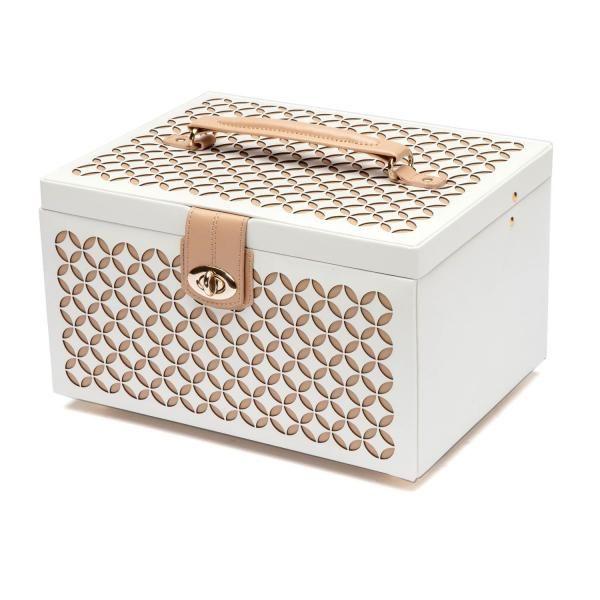Wolf Designs Chloe Medium Jewelry Box in Cream Pattern Leather