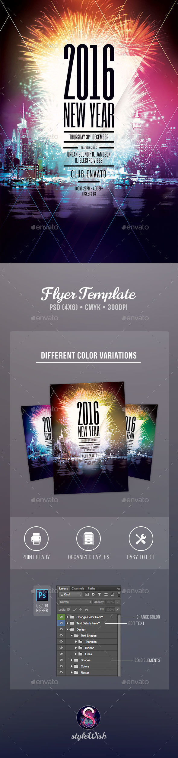 2018 New Year Flyer Template | Flyer template, Template and Party flyer