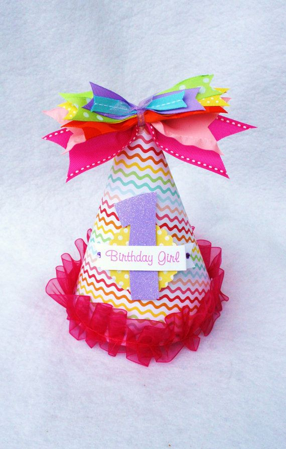 Rainbow Birthday Party Hat With Ombre Polka Dots
