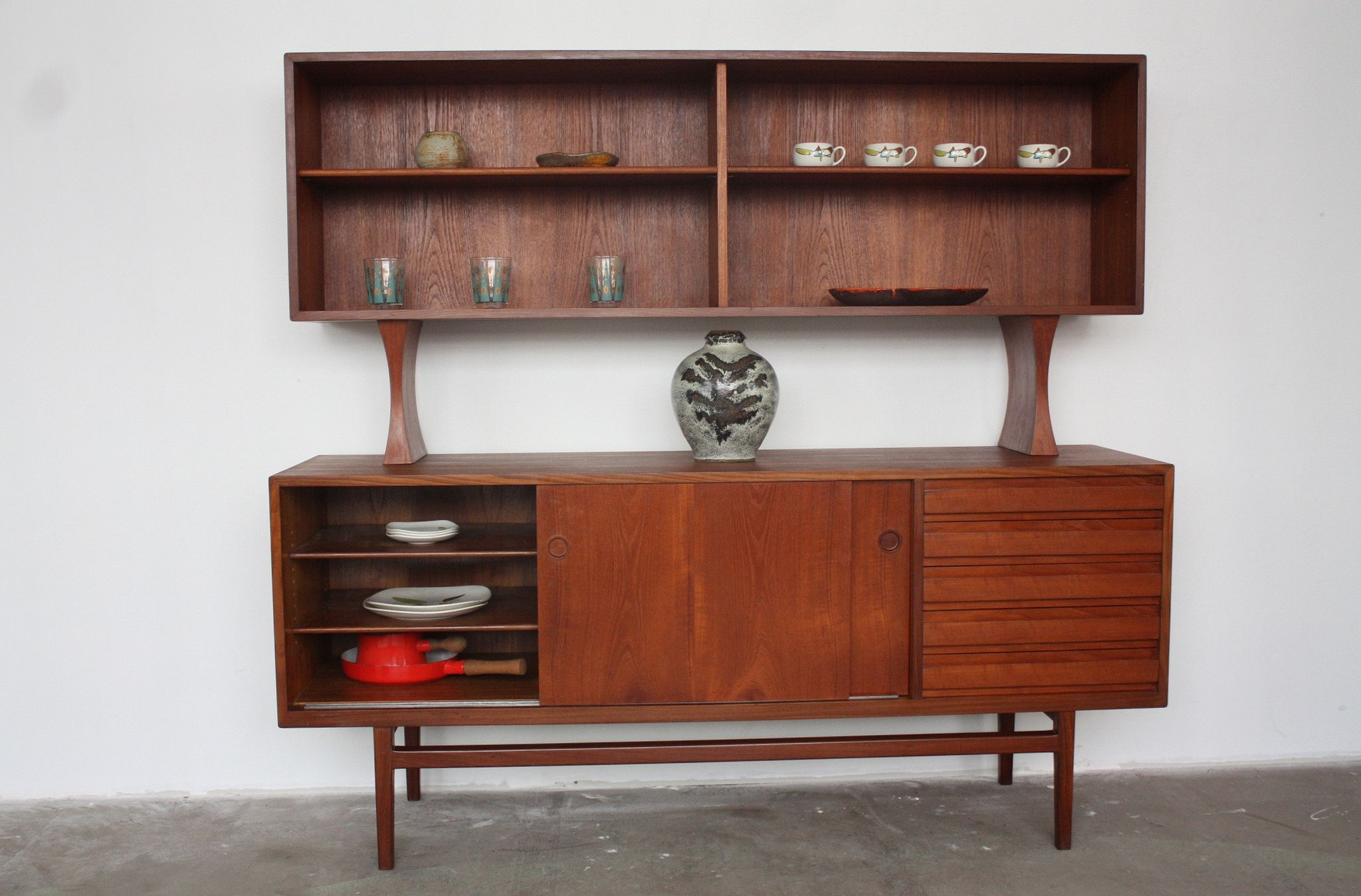 Festive Danish Midcentury Modern Teak Sideboard Credenza With Floating Hutch