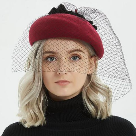 62db5f3a455 Fashion wool french beret hat with veil for women vintage winter hats
