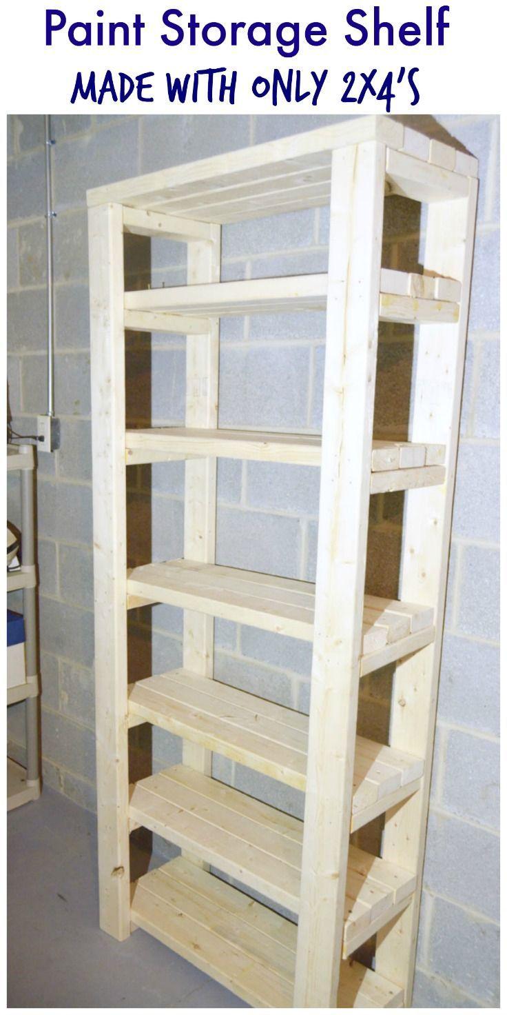 Paint Storage Shelf Made With 2x4s Diy garage storage