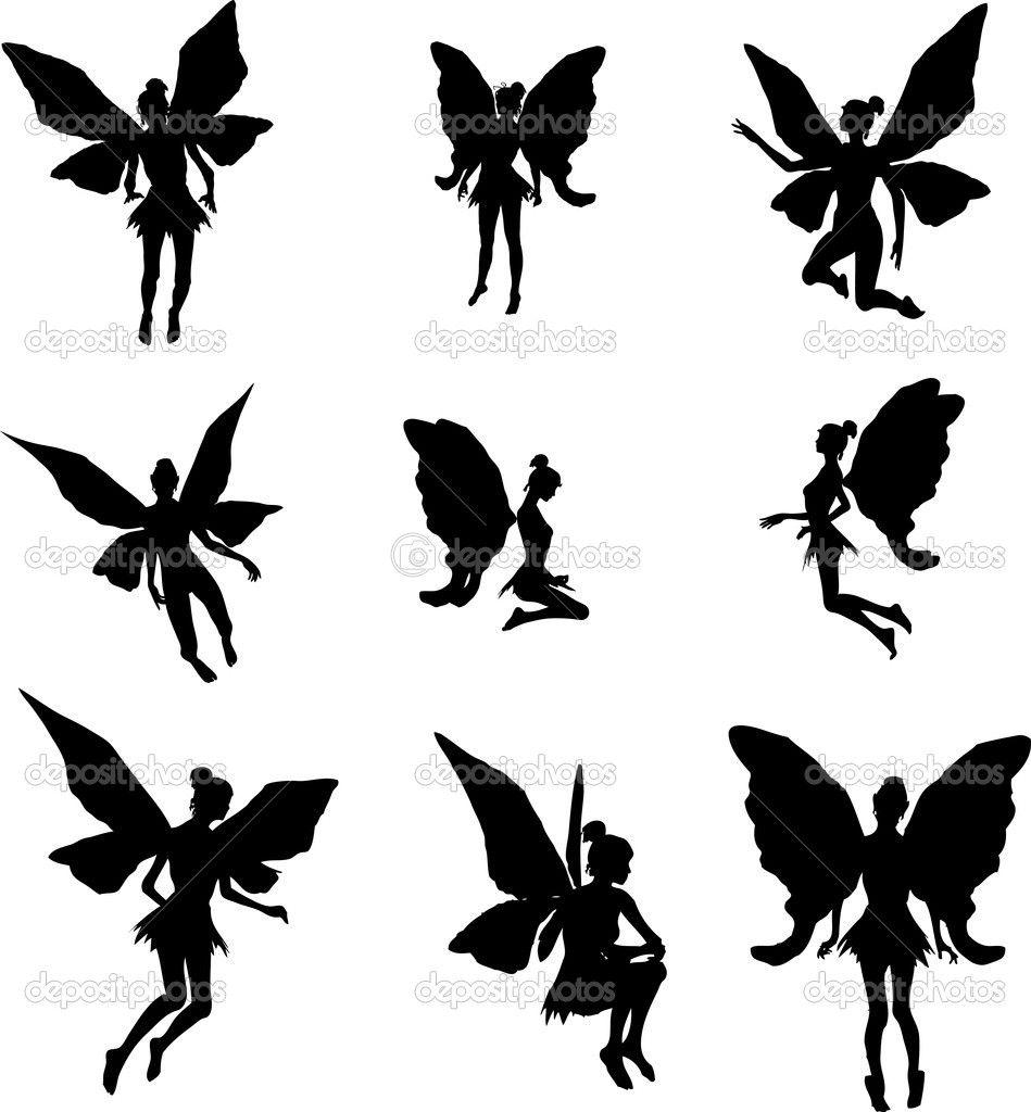 Фея силуэты — Стоковая иллюстрация #10062878