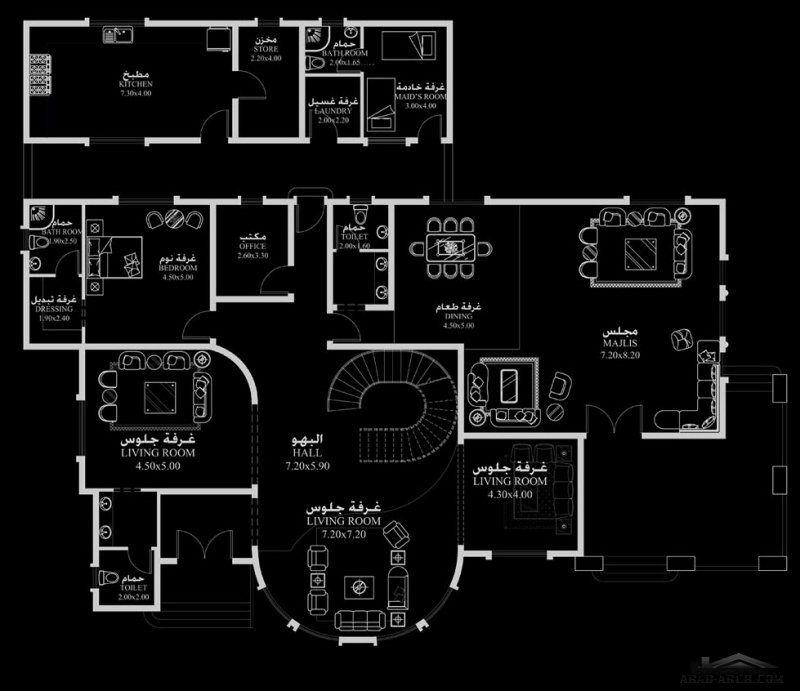 مخطط منزل المساحه 690 متر مربع 5 غرف نوم ابعاد المنزل 25 20 م X 23 م Room