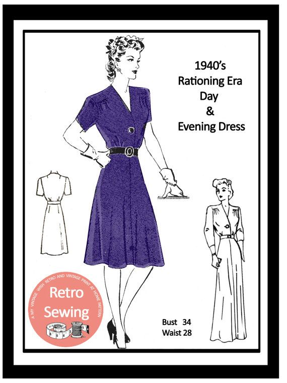 1940s Wartime Frock Sewing Pattern PDF Full Size Sewing | Patrones ...