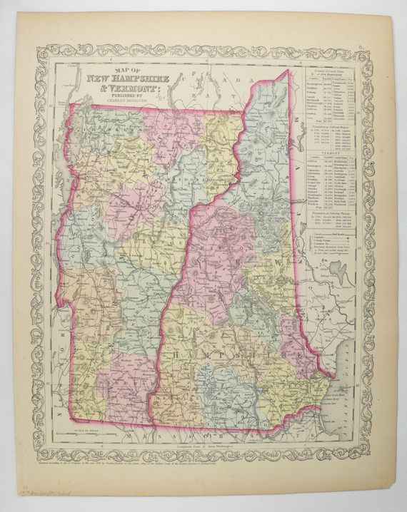 Antique VT Map Vermont New Hampshire Map NH Mitchell - Map of vermont and new hampshire