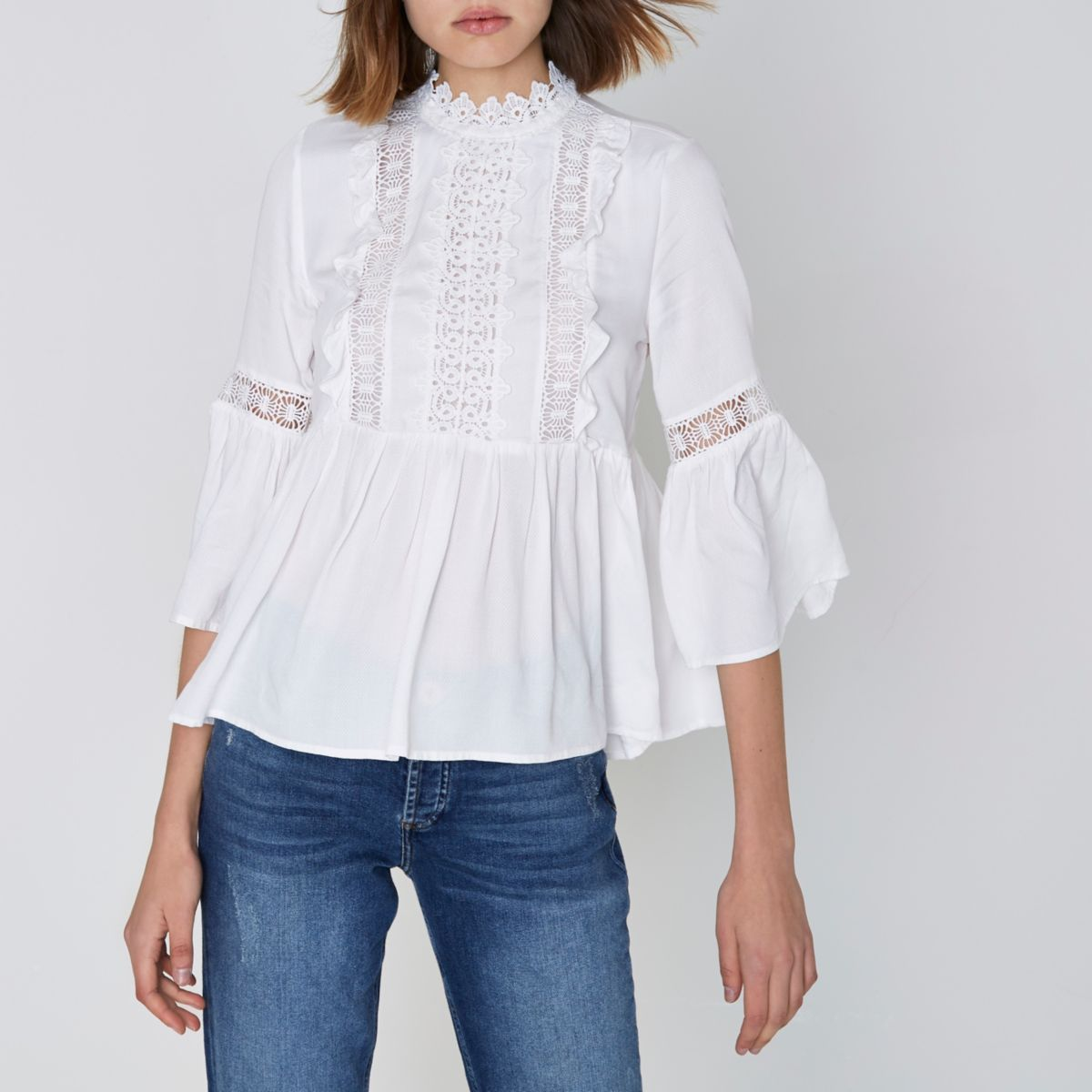 8a585c76718d20 White embroidered high neck smock top | Clothes | Tops, Summer tops ...