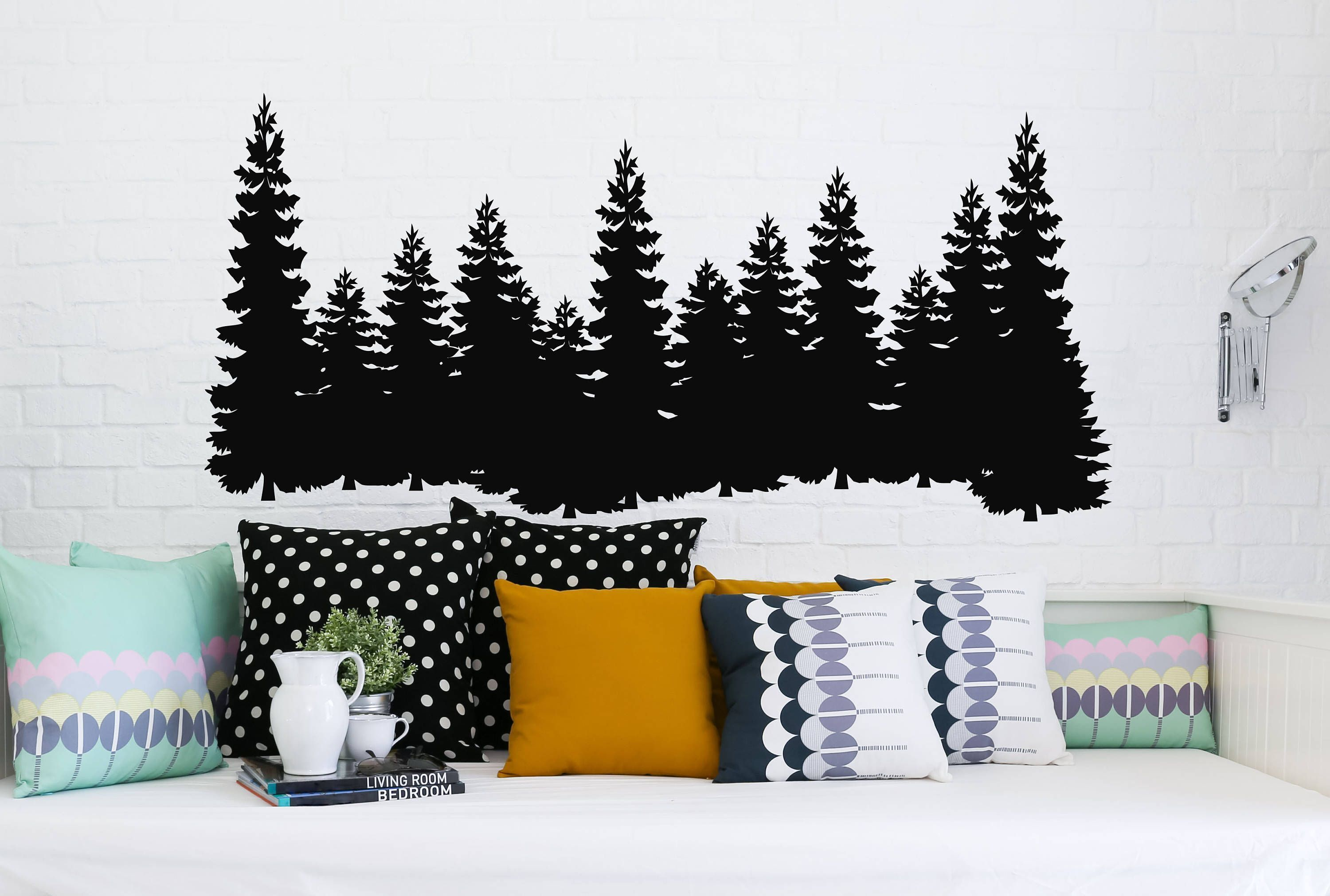 Pine Trees Wall Decal Forest Landscape Nature Vinyl Sticker Merry