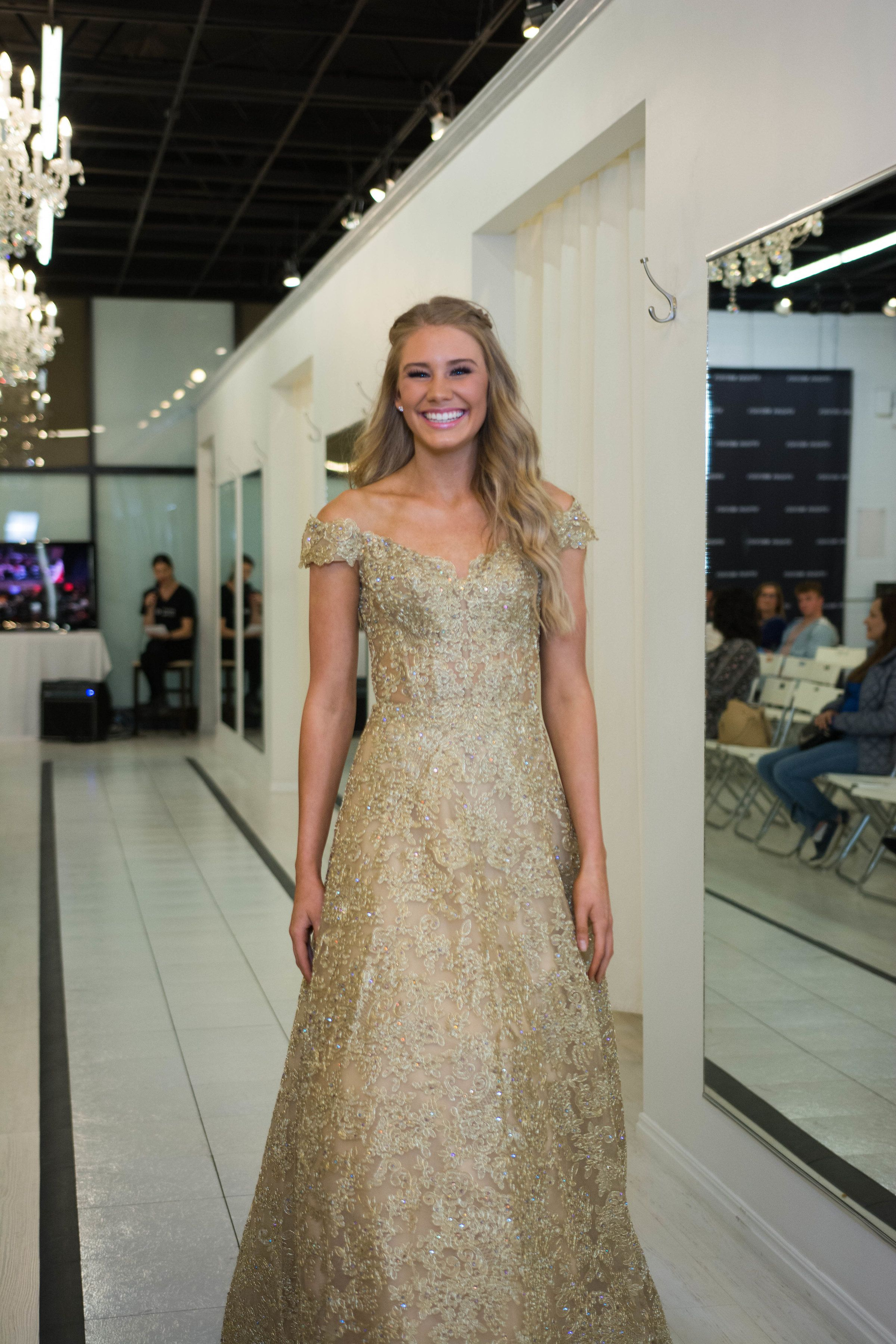 Sherri Hill Gold Champagne Lace Sparkle Flowy Off the Shoulder ...