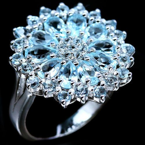 NATURAL! SKY BLUE TOPAZ 925 STERLING SILVER RING WHITE GOLD PLATED SZ 5.25 #PNG #SolitairewithAccents