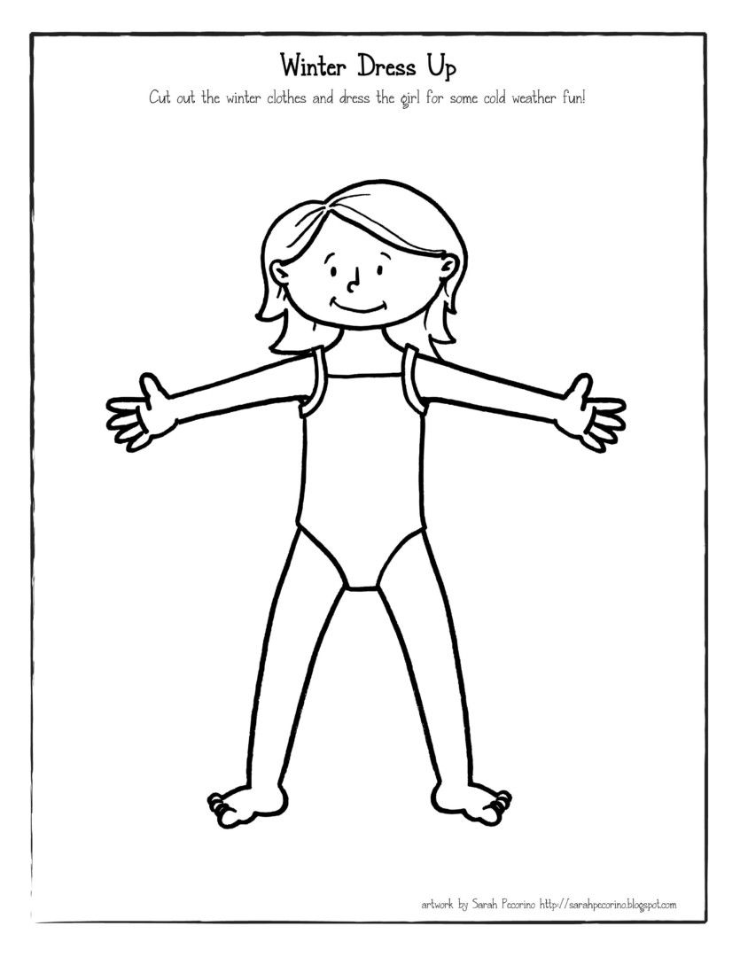 winter dress up coloring page