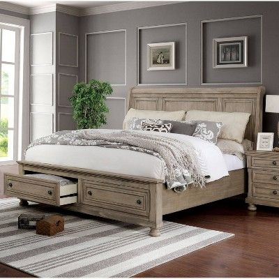 Best Earl Footboard Drawers Sleigh Bed California King Gray 640 x 480