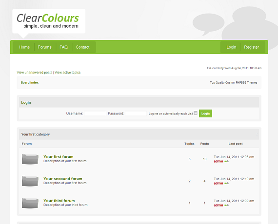 This phpBB template boasts a clean and minimal design, two colour schemes to choose from (blue and green), and a simple layout, making it ideal for a range of different types of online forums.
