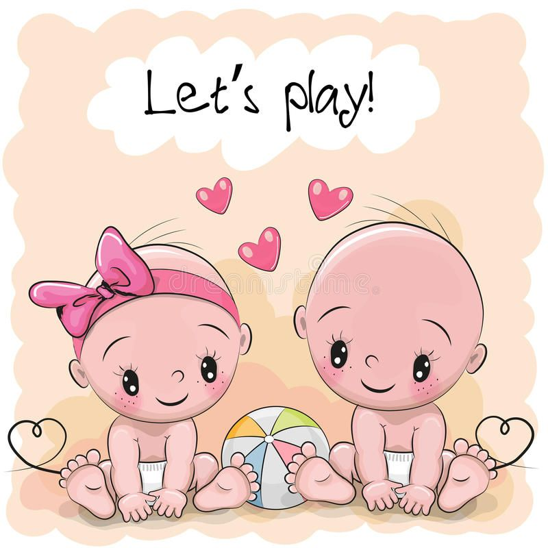 Two Cute Cartoon Babies Boy And Girl Sponsored Cartoon Cute Babies Girl Boy Ad Baby Cartoon Baby Drawing Baby Illustration