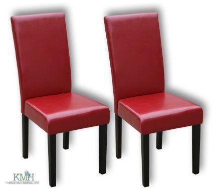 2 esszimmerstühle mit weinrotem kunstlederbezug / polsterstuhl, Esszimmer dekoo