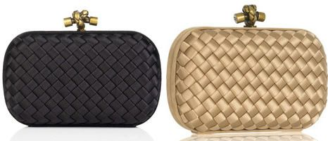 4e37895ac898 The Bottega Veneta Satin Knot Clutch in black or champagne ...