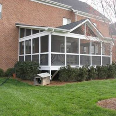 Screened porch with shed roof and false gable archadeck for Shed roof screened porch