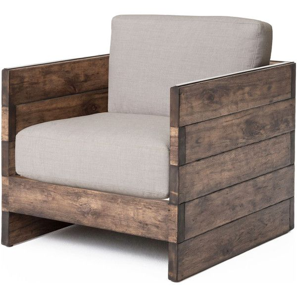 Watson Modern Rustic Lodge Chunky Wood Oak Square Arm Chair ($2149) ? liked on  sc 1 st  Pinterest : wood accent chairs - lorbestier.org