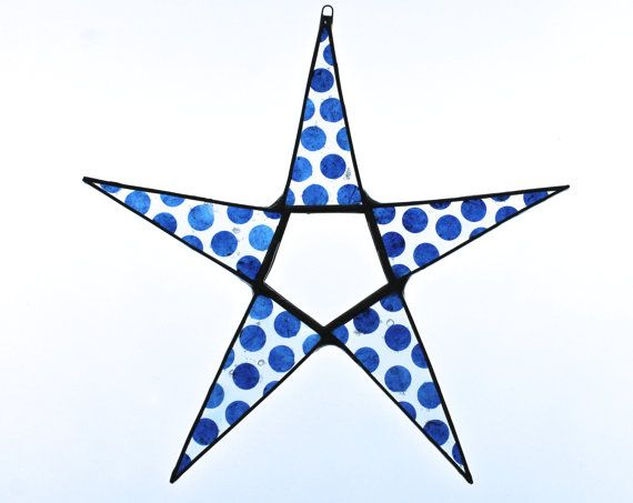 Blue Dot Special- 9 inch glass star with lacquered Lokta paper dots on glass  kurtknudsen.etsy.com