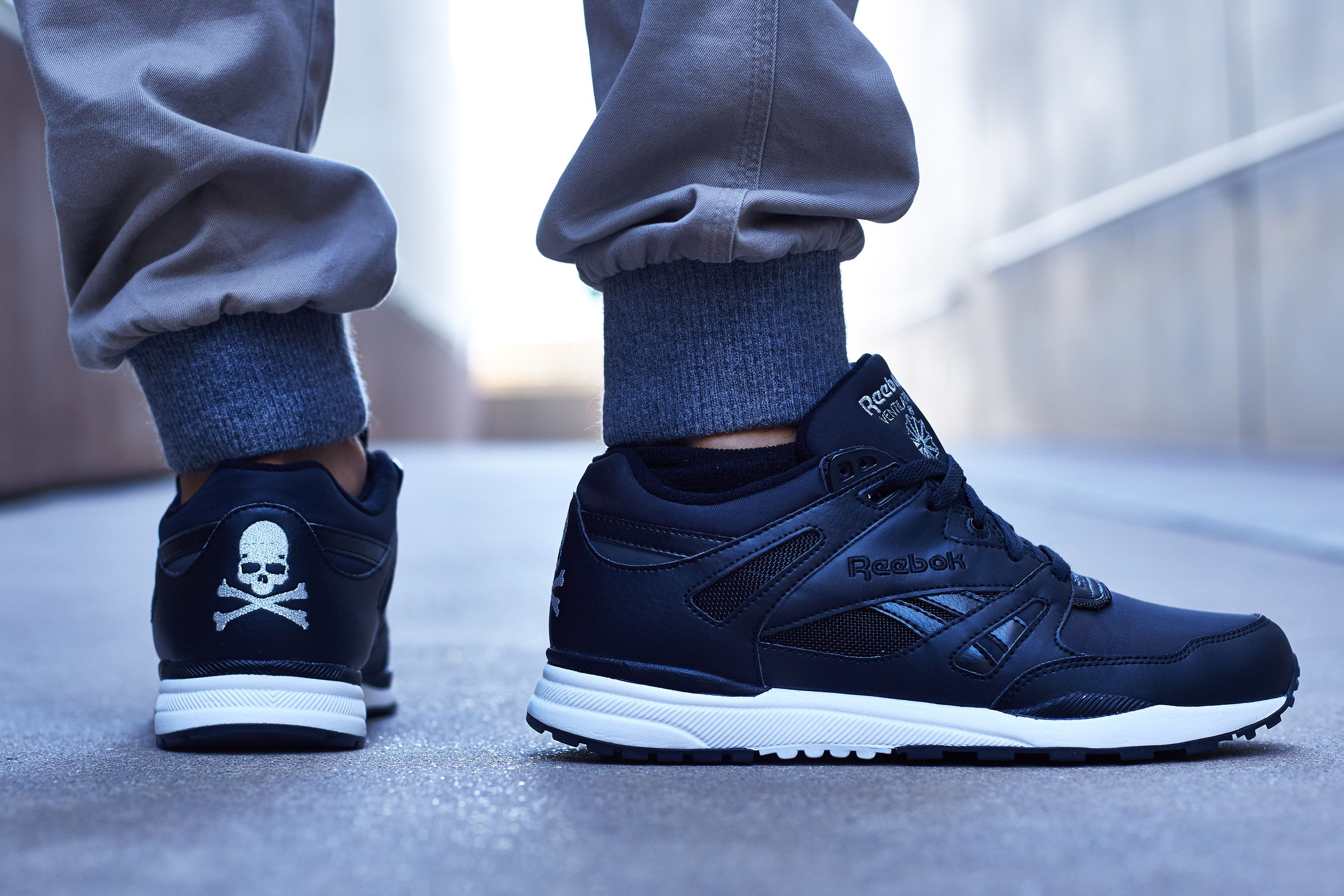 Noir but noticeable, the mastermind JAPAN x Reebok Ventilator continues the  retro running silhouette's collaborative campaign in bold but blunt fashion.