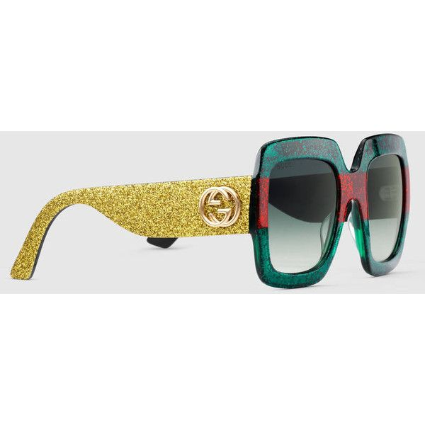 ee48e489d59 Gucci Oversize Square-Frame Acetate Sunglasses ( 320) ❤ liked on Polyvore  featuring accessories
