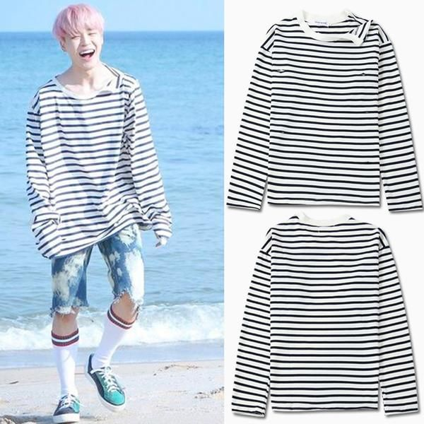 fedfe9f5ef3 Bts jimin black white stripes shirt in 2019