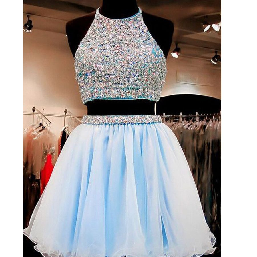 8f8ac4a9a32 New Arrival two pieces halter sparkly backless crop tops freshman homecoming  prom gowns dress The two pieces halter backless sparkly homecoming dresses  are ...